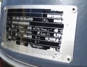 Grundfospumpe 7,5kW type